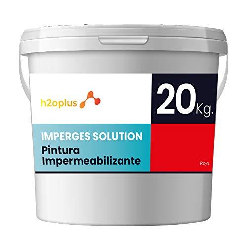 Imperges Revestimiento Elástico Impermeabilizante Profesional · Pintura para Impermeabilizar parámetros horizontales en Terrazas, Azoteas, Balcones y Tejados · Color Rojo Teja · 20 Kg (16,6 L)