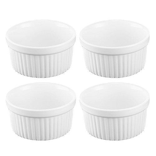 4 Piezas de 3,5 Pulgadas de cerámica Ramekins Souffle Copas para Hornear Creme brulée natillas Platos de Postre Blanco