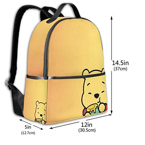 Classic School Backpack Winnie The Pooh Unisex College Schoolbag Travel Bookbag Black