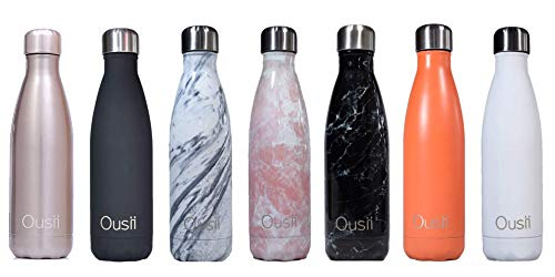 Ousii Bottles | Leak-Proof, No Sweating | BPA-Free Stainless Steel | Reusable Water Bottle | Double Walled Vacuum Insulated | Keeps Cold for 24+ Hrs, Hot for 12 Hrs (Carrara Marble)