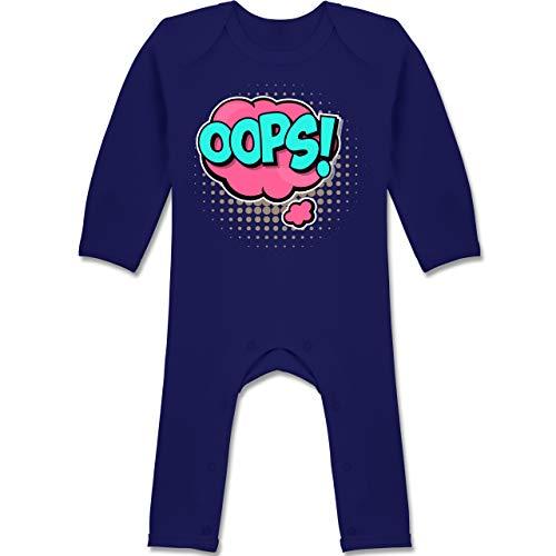 Shirtracer Karneval und Fasching Baby - Popart Karneval Kostüm OOPS! - 6/12 Monate - Navy Blau - BZ13 - Baby-Body Langarm für Jungen und Mädchen