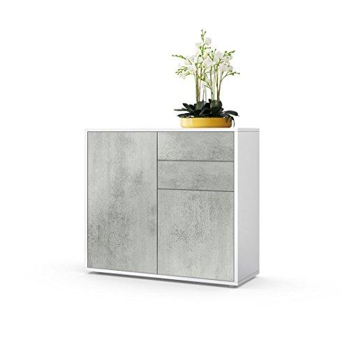 Vladon Kommode Sideboard Ben, Korpus in Weiß matt/Fronten in Beton Oxid Optik