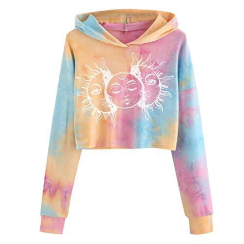 SSMENG Damen Teenager Mädchen Bauchfrei Kapuzenpullover Tie Dye Langarm Sweatshirts Bluse Oberteile Kurz Hoodie Crop Top Sweatshirt(Weiß,L)
