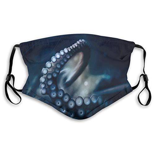 Gezichtsmasker octopus behang mond masker donkerblauw luchtvervuiling truffelmasker herbruikbare neusafdekking voor heren dames en kinderen