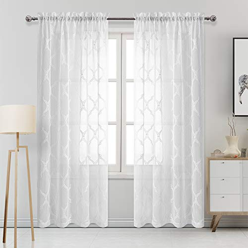 DWCN Moroccan Embroidered Sheer Curtains - Faux Linen Rod Pocket Semi Voile Sheer Bedroom and Living Room Curtains, 52 x 84 Inches Long, Set of 2 Window Curtain Panels, Off White