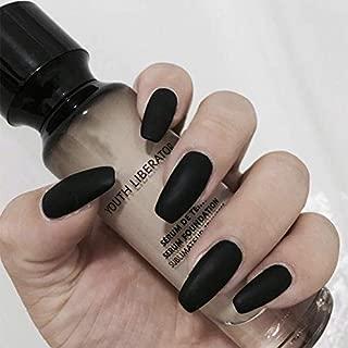 Fake Nails 24pcs 12 Different Sizes Long False Nails Black Matte Full Cover Thin Well-Fitting Acrylic Nail Tips