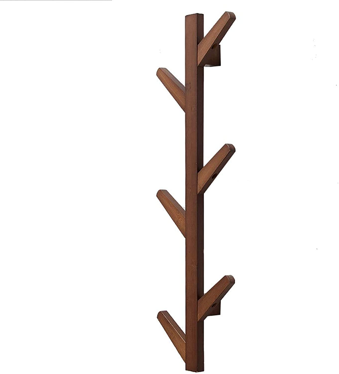 GuoWei Coat Hat Rack Wall-Mounted Bamboo Wood Hooks Tree Branch Hanging Storage Organizer Entryway Foyer (color   Brown, Size   7x25x98cm)