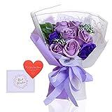 ソープフラワー プレゼント バラ 花束 誕生日 女性 女友達 妻 母 祖母 花 結婚祝い 出産祝い 花 枯れない花フラワーギフト 母の日 記念日 お祝い 退職祝い 送別会 お花 発表会 シャボンブーケ ギフト メッセージカード付き(紫)