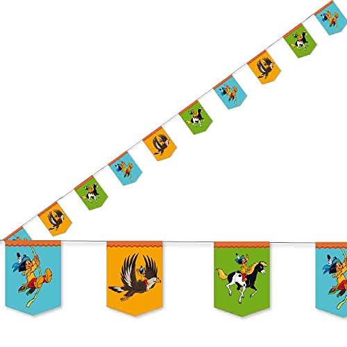 3,5m Wimpelkette * YAKARI * mit 10 Wimpeln für Kinderparty und Kindergeburtstag von DH-Konzept // Indianer Indianerjunge Sioux Kleiner Donner Deko Partykette Girlande Banner Party Set