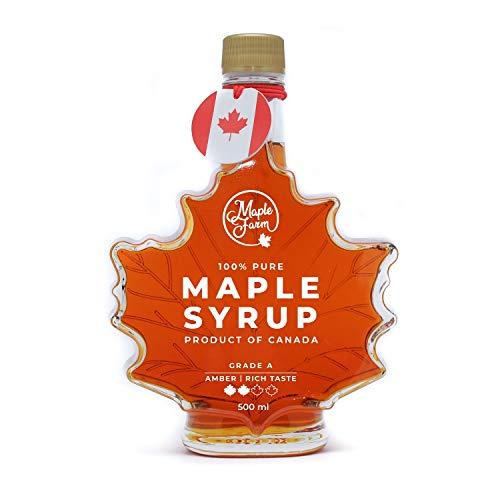 MapleFarm - Puro sciroppo d'acero Canadese Grado A - AMBER - Rich taste - Bottiglia a foglia - 661g (500ml)