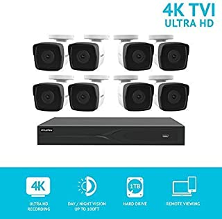 LaView 8 Channel Ultra HD 4K Home Security Camera System with 8 8MP IP Bullet Cameras, 100ft Night Vision, Weatherproof Expandable Surveillance Camera System DVR 1TB HDD