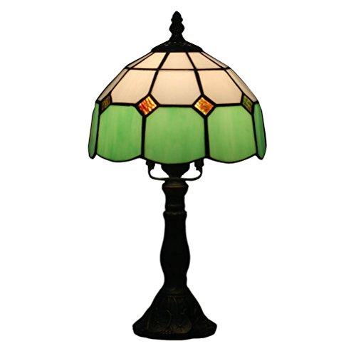 FABAKIRA Lámpara de Mesa Estilo de Tiffany 8 Pulgadas Europea Vintage Pastoral Floral Stained Vidrio Retro Lámpara de Mesita Estudio
