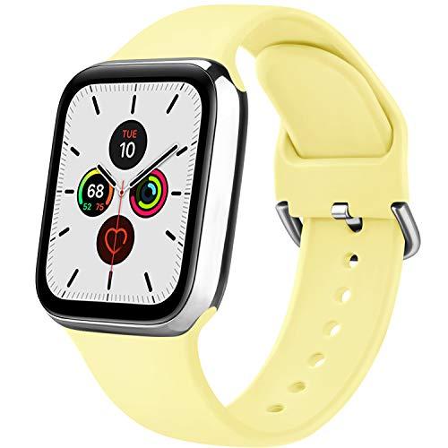 Senka Silicona Correa Compatible con Apple Watch 38mm 42mm 40mm 44mm, Pulseras de Repuesto Silicona Suave Deportiva para iWatch Series 6 5 4 3 2 1,Hombre y Mujer(Leche Amarilla,42mm/44mm S/M)