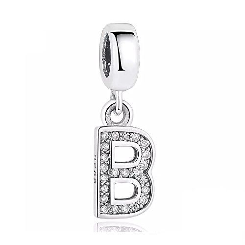 FeatherWish Sterling Silver 925 Letter B Charm With Cubic Zirconia Compatible With Pandora Bracelet (Letter B)