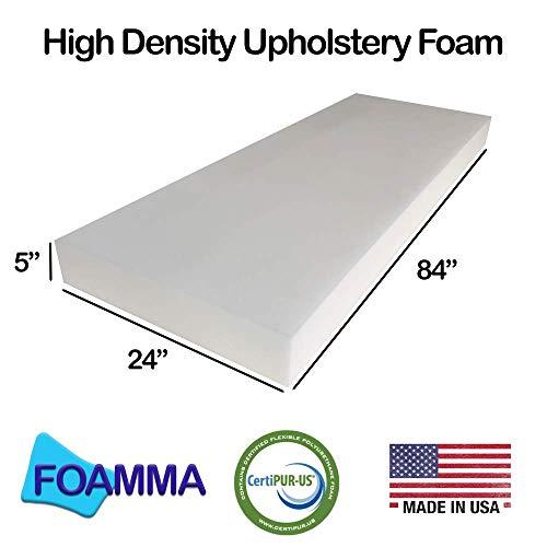 "FOAMMA 5"" x 24"" x 84"" Upholstery Foam High Density Foam (Chair Cushion Square Foam for Dining Chairs, Wheelchair Seat Cushion Replacement)"