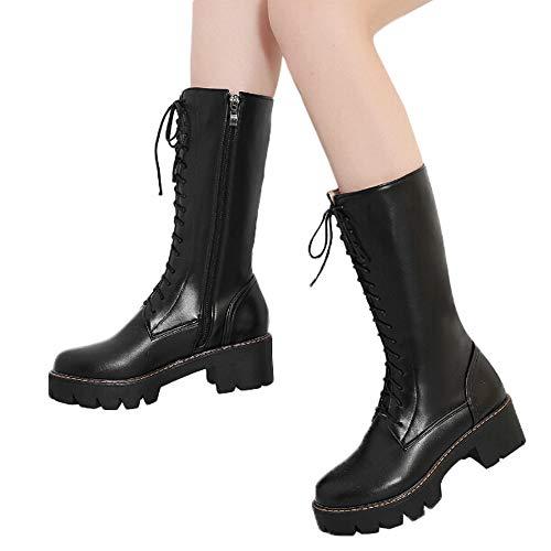 MYMYG Frau Mittleres Rohr Stiefel Damen rutschfeste Mitte Booties Winterschuhe Plateauschuhe Lederschuhe Stylische Zip-up Lace Up Schuhe Elegant Retro PU Leder Stiefel