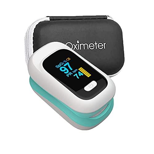 MOSHUO La Pantalla OLED portátil del Monitor de saturación de oxígeno Tiene lecturas rápidas y precisas y la función de Alarma es Adecuada para Adultos y niños (Color: Rosa + Caja de Almacenamiento)