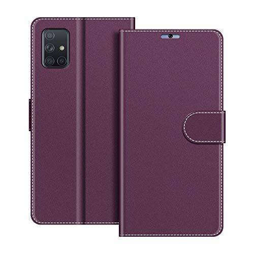 COODIO Handyhülle für Samsung Galaxy A71 Handy Hülle, Samsung Galaxy A71 Hülle Leder Handytasche für Samsung Galaxy A71 Klapphülle Tasche, Violett