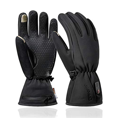 2020 Upgraded Waterproof Heated Gloves for Men Women, Rechargeable Battery Electric Heated Gloves, Touchscreen Anti-Skip Hand Warmer for Cycling Motercycling Hiking Skiing Outdoor by Dr.warm [S]