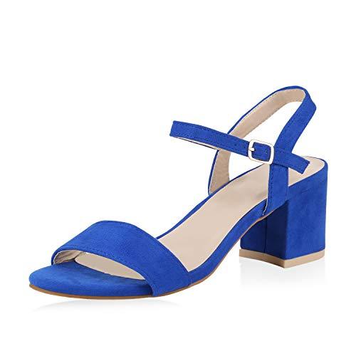 SCARPE VITA Damen Riemchensandaletten Blockabsatz Sandaletten Sommer Schuhe Mid Heel Klassische Abendschuhe Metallic 173914 Blau Blue Total 36