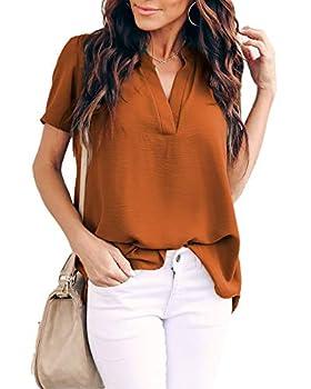Allimy Women Summer Short Sleeve Shirts Casual V Neck Chiffon Tops and Blouses Large Orange