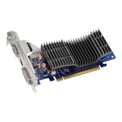 ASUS Nvidia GeForce EN210 SILENT/DI/512MD2(LP) Grafikkarte (PCI-e, 512MB GDDR2 Speicher, 1x DVI-I, 1x D-Sub, 1x HDMI, Passiv)