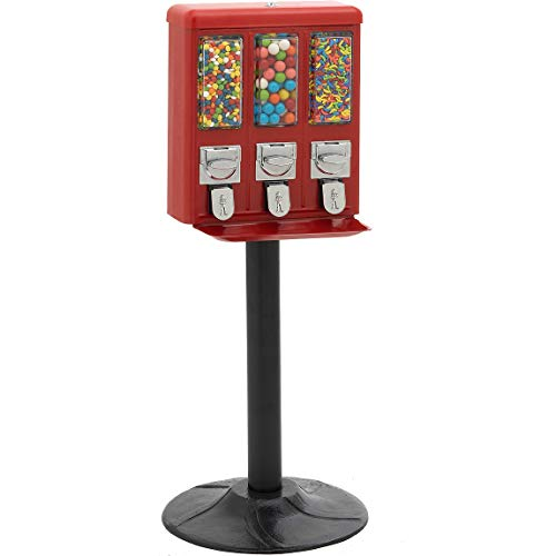 Red All Metal Triple Compartment Commercial Vending Machine for 1 inch Gumballs, 1 inch Toy Capsules, Bouncy Balls, Candy, Nuts with Stand by American Gumball Company