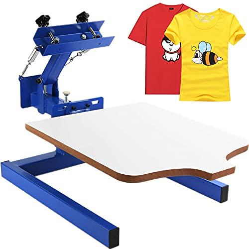 Husuper Máquina de Serigrafía 1 Color 1 Estación Paleta de 45x55 cm Máquina de Impresión de Pantalla de Seda Área de Impresión Acero Máquina de Impresión Pantalla Presión de Camiseta