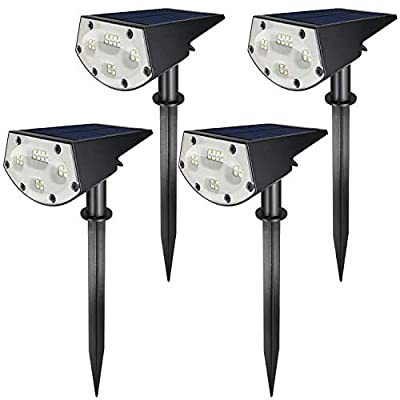 Solar Plus LE-05A 20 LED Landscape Spotlights IP67 Waterproof Powered Wall 2-in-1 Wireless, Outdoor Solar Light for Yard Garden Driveway Porch Walkway Pool Patio (4-Pack)
