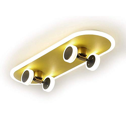 LED Skateboard Deckenleuchte Dimmbar Schlafzimmer Skate-Deckenlampe für Kinderzimmer und Sportbegeisterte 32W Wohnzimmer Lampe mit Fernbedienung, Skateboardlampe aus Metall/Kunststoff, L60cm, Gold