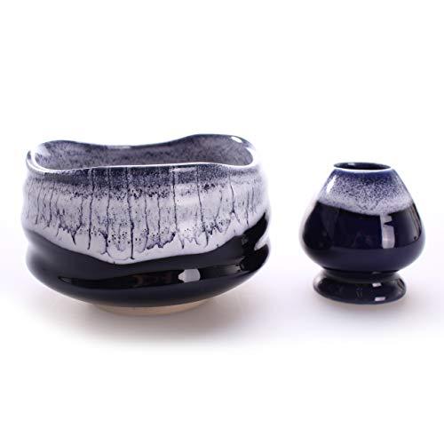 Goodwei Matcha Schale für japanische Teezeremonie 430 ml (mit Besenhalter, Kori)