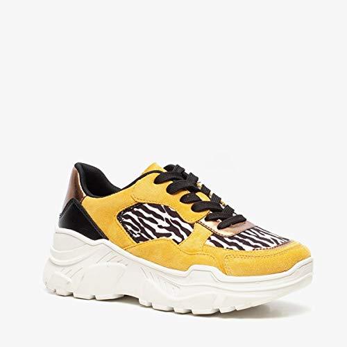 Blue Box dames dad sneakers met zebraprint - Geel