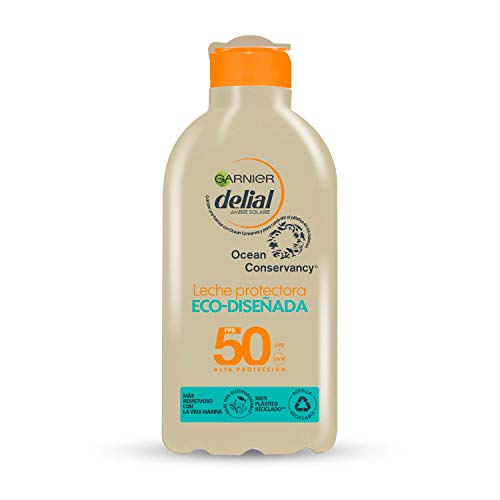 Garnier Delial Leche Protectora Eco Diseñada SPF 50, Respetuosa con la vida marina, Fórmula 94% biodegradable 235 g