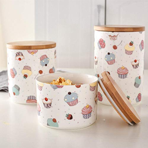Keramik-Vorratsdosen-Set mit luftdichtem Bambus-Deckel, Teedose, Süßigkeiten, Zucker-Dosen für Küche (A)
