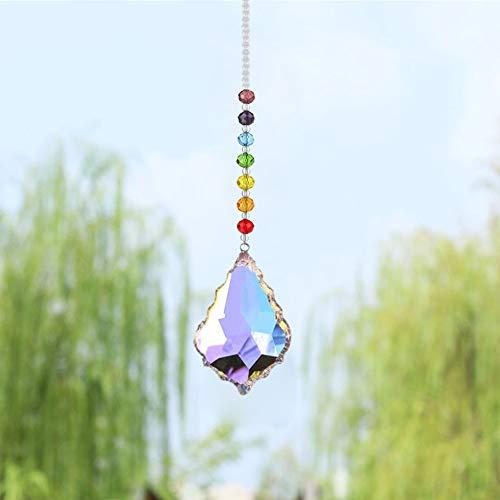 Dsaren Kristall Sonnenfänger Handgemacht Regenbogen Perlen Glas Prisma Kristall Anhänger mit Haken für Fenster Garten Zuhause Dekoration (Ahornblatt)