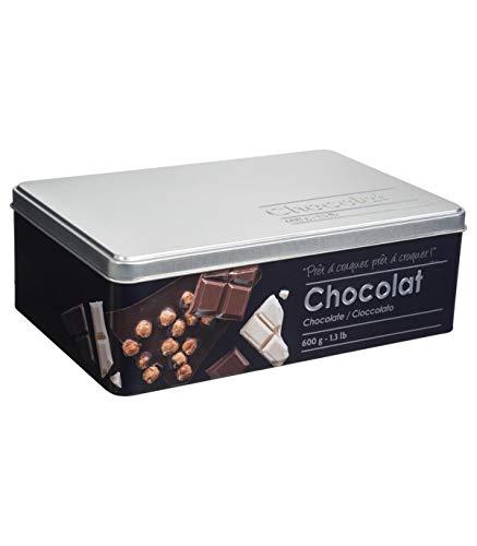 Boite alimentaire - Relief II - tablette de chocolat - 20.2 x 13.2 x 6.7 cm - Fer et étain - Noir