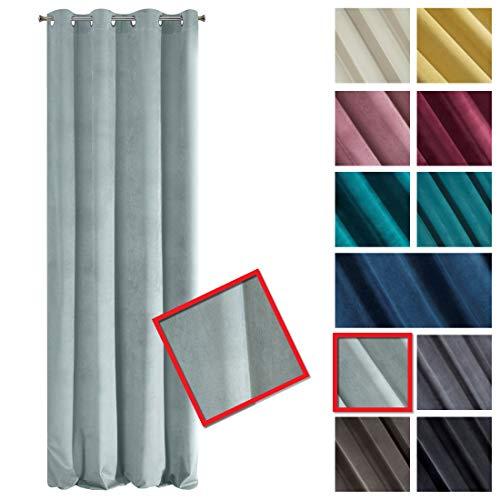 Eurofirany Samt Vorhang Velvet Azurblau Himmelblau Einfarbig Glatt Metallösen 200g/m2 1 STK. Flauschig Weich Modern Klassisch Wohnzimmer Schlafzimmer, Polyester, Kalt Minze Hellblau, 140x250 cm