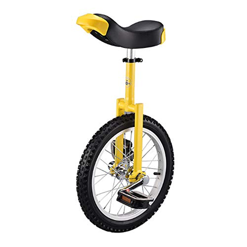 Niguleser Unicycle, 16' Wheel Trainer Unicycle, 2.125' Skidproof Butyl Mountain Tire, Adjustable seat Height, Children Adult Balance Cycling Exercise,Yellow