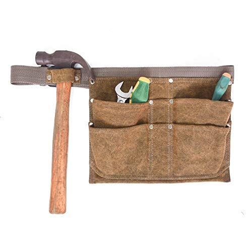 JKLcom Canvas Waist Tool Apron Gardening Tools Belt Bags Garden Waist Bag Hanging Pouch Adjustable Tool Apron Organizer With 6...