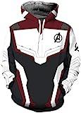 EMILYLE Jungen Avengers Endgame Kapuzenpullover Superheld Quantum Realm Cosplay Kostüm 3D Druck Trendy Teenager Hoodie (XXL (170-175cm), Weinrot)
