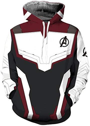 OLIPHEE Felpe con Cappuccio The Avengers: Endgame Felpa Costume Cosplay Giacca con Cappuccio Sportiva 3D Cool per Ragazzi e Uomo Felpa Vino Rosso L