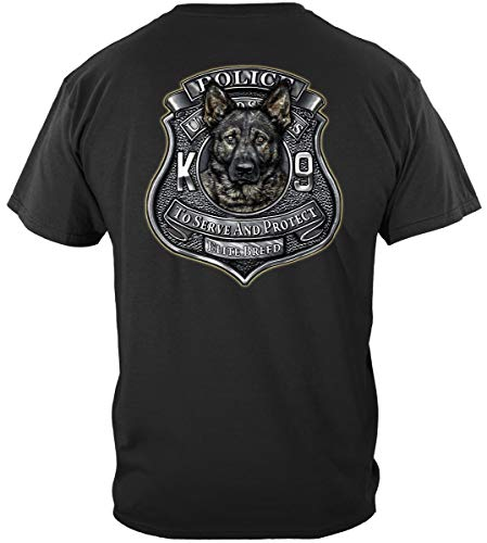 Erazor Bits Law Enforcement T-Shirt Elite Breed K9 Police Large Black