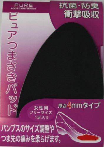 ライオン靴クリーム本舗 ピュアつまさきパッド 厚さ4mm 女性用 フリーサイズ 黒