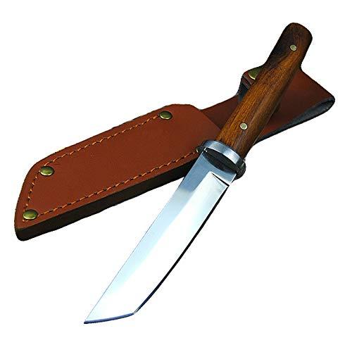 Promithi Fourreau en Cuir, Manche en Bois, Japanese 9CR 18MOV, Couteau Outdoor, Couteau de Camping, Couteau de Travail