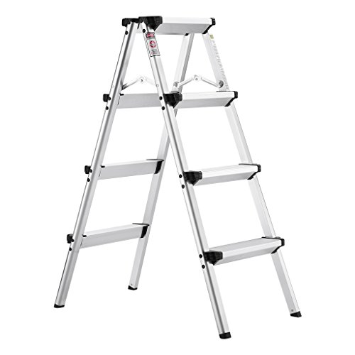 Finether Folding 4 Step Aluminum Ladder 300lb Capacity, Portable Step Stool for Home,Kitchen, Garden, Office, Warehouse