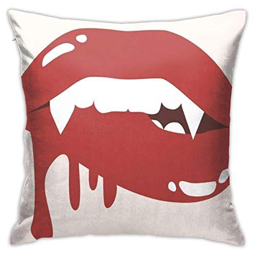 Dientes Rojos Sexy Vampire Mordiendo los Labios Sangre Dibujos Animados de Halloween Stock Colmillos Negros Boca Ropa de Cama Throw Pillows-18 x 18 Pulgadas Cojines de Cama y sofá-Cojines Decorativos
