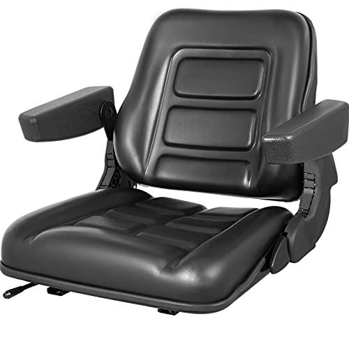 VEVOR Universal Forklift Seat Black PVC Tractor Seat, 6
