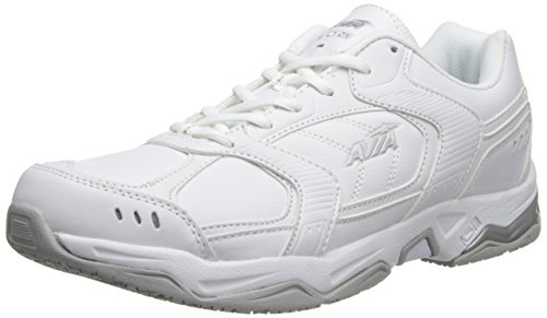 AVIA Men's Union Service Shoe, White/Chrome Silver/Steel Grey, 7.5 M US