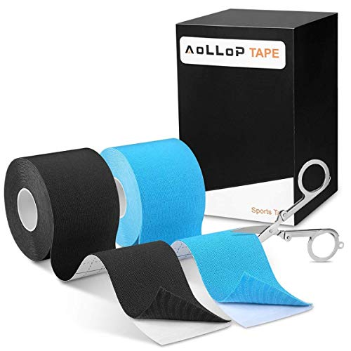 """Kinesiology Tape KT Sports Tape,Latex Free Therapeutic Tape Breathable kinseology Athletic Tape waterproof, 2 Pack 2"""" x 16.5 feet (Including Folding Scissor)"""