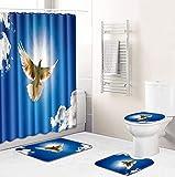 Badezimmerset,Duschvorhang,Toilettenset,Duschvorhangset mit Animal-Print wasserdichte Badematte,Rutschfester Badteppichdeckel,Toilettenabdeckung & 12 Haken für das Badezimmer